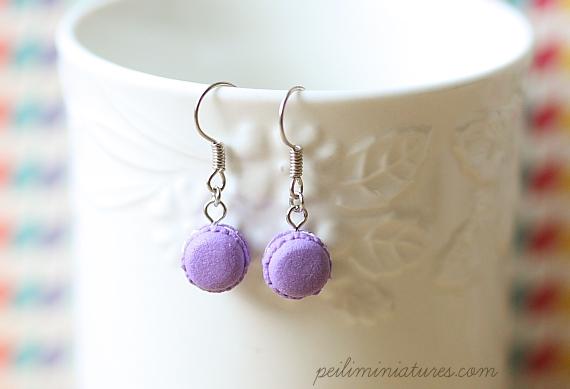 Cute Clay Earrings - Royal Purple Macarons