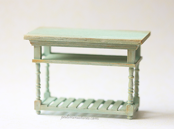 Dollhouse Miniature Kitchen - Blue Island Table