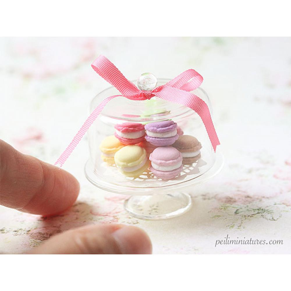 Dollhouse Miniature Food Sweet Macarons on Glass Display Stand