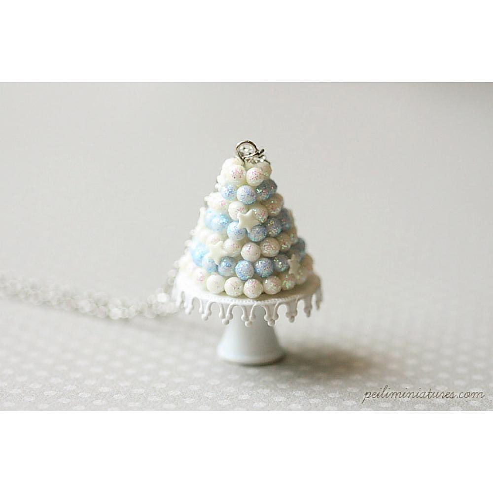 White Christmas Tree Cake Jewelry - Christmas Necklace