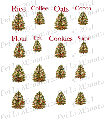 Dollhouse Miniature Decals � Kitchen Canister Labels Set 10-dollhouse miniature, dollhouse miniature decals, shabby chic miniatures