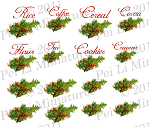 Dollhouse Miniature Decals � Kitchen Canister Labels Set 12