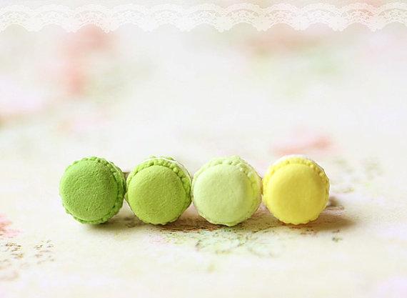 Food Jewelry - Macarons Earrings (Green & Yellow Series)