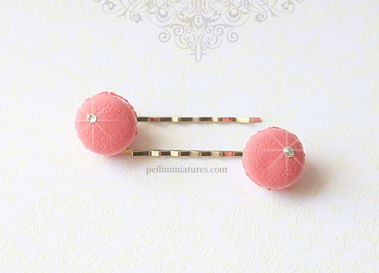 Cute Hair Clip - Raspberry Pink French Macarons Bobby Pin