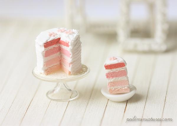 Miniature Dollhouse Food - Pink Rainbow Cake