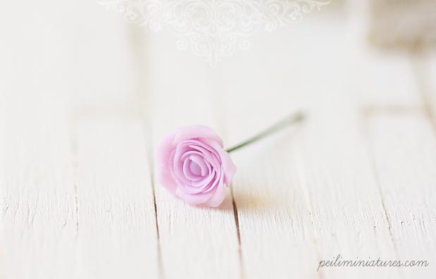 Dollhouse Miniature Flowers - Elegant Soft Violet Rose Single Stalk