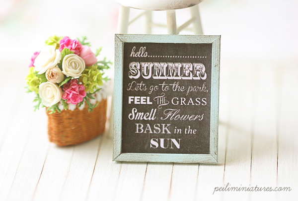 Dollhouse Miniature Shabby Framed Art - Summer Time Poster-shabby art, summer time poster, dollhouse poster