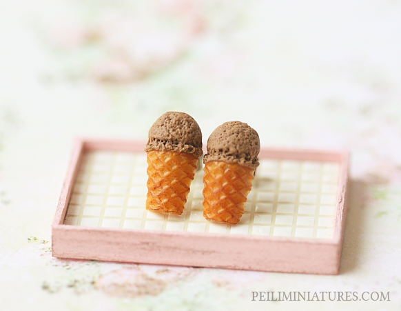 Dessert Earrings - Chocolate Ice Cream Earrings Stud