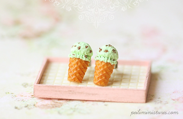 Dessert Earrings - Ice Cream Earrings Stud - Mint Chocolate Chip