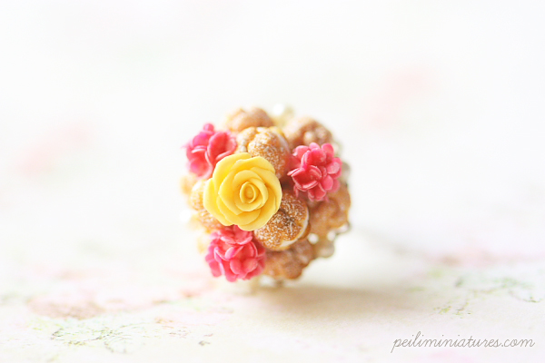 Miniature Food Ring - Profiteroles Ring with Yellow Rose