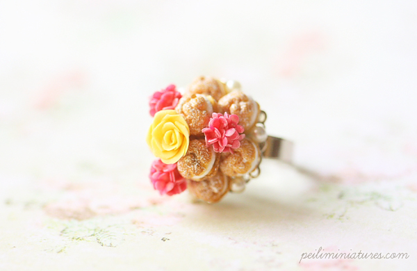 Miniature Food Ring - Profiteroles Ring with Yellow Rose-miniature food ring, profiteroles ring