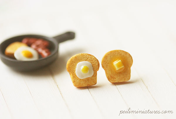 Toast Earrings - Butter and Egg Toast Earrings