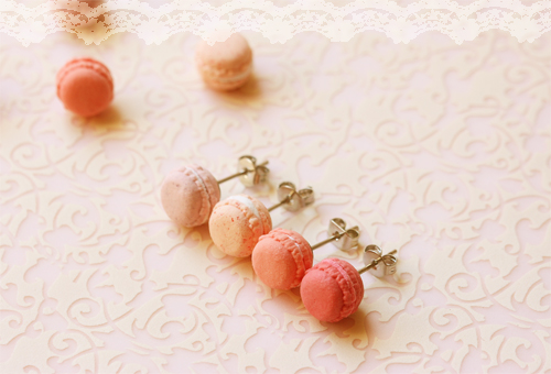 Food Jewelry - Pink Macarons Earrings (Dusty Pink Series)-french macarons, macaron earrings, pink macarons, clay jewelry, Food Jewelry