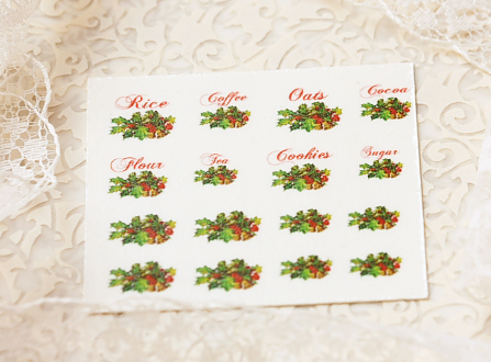 Dollhouse Miniature Decals – Kitchen Canister Labels Set 11