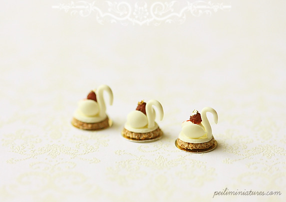 Dollhouse Miniature Food - White Chocolate Swan Desserts
