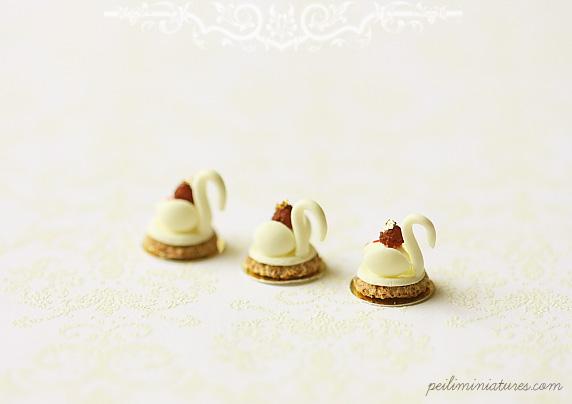 Dollhouse Miniature Food - White Chocolate Swan Desserts-dollhouse swan desserts