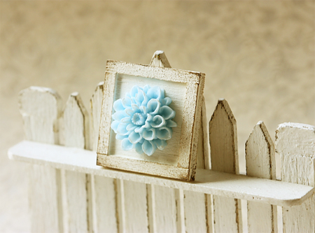 Dollhouse Accessories -Shabby Chic Framed Flower Applique Decoration-dollhouse accessories, pei li miniatures, wooden dollhouse accessories, miniature dollhouse accessories