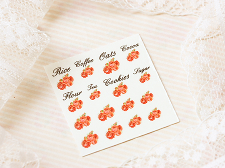 Dollhouse Miniature Decals – Kitchen Canister Labels Set 13