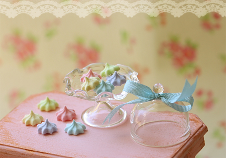 Miniature Dollhouse Food - Elegant Pastel Meringues in 1/12 Scale
