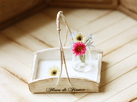 Dollhouse Accessories - White Rustic Flower Tray-dollhouse miniatures, miniatures, dollhouse accessories, pei li miniatures, french rustic tray, pink shabby chic tray,