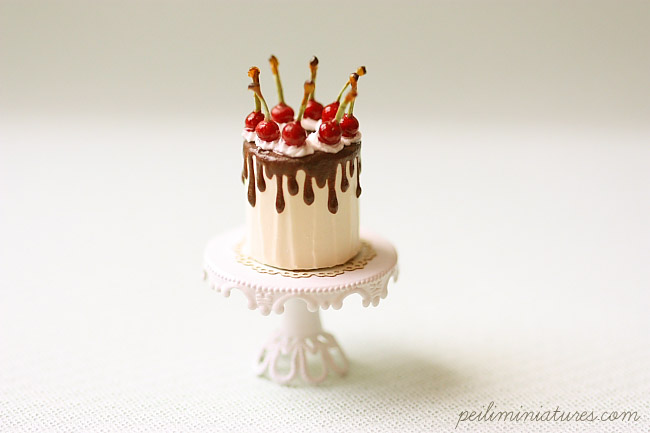 Miniature Dollhouse Food - Chocolate Ganache Cherries Cake