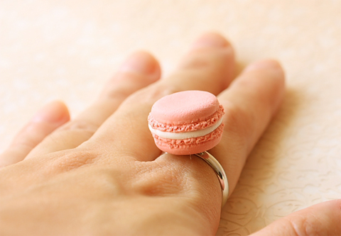 Kawaii Jewelry - French Macaron Ring (Colors of Flowers Series)-French macaron, macaron ring, food jewelry, kawaii jewelry