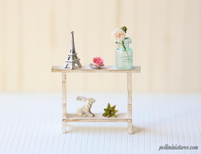 Dollhouse Miniature Eiffel Tower Zakka Shelf - 1/12 Dollhouse Miniature Scale