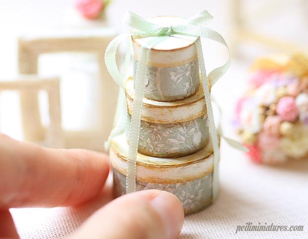 Dollhouse Miniature Soft Sage Round Victorian Gift Boxes-dollhouse miniature round victorian gift boxes