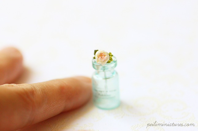 Dollhouse Miniature Blue Mason Jar With Single Rose Stalk