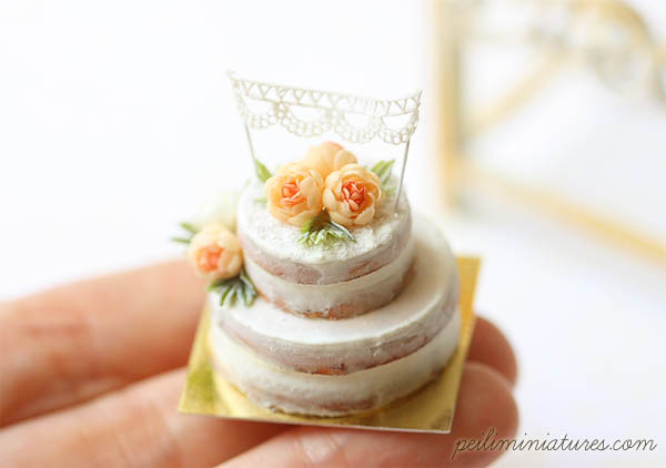 Dollhouse Cake - Peach Flower Naked Cake-dollhouse food, 1/12 dollhouse miniature scale, dollhouse cake