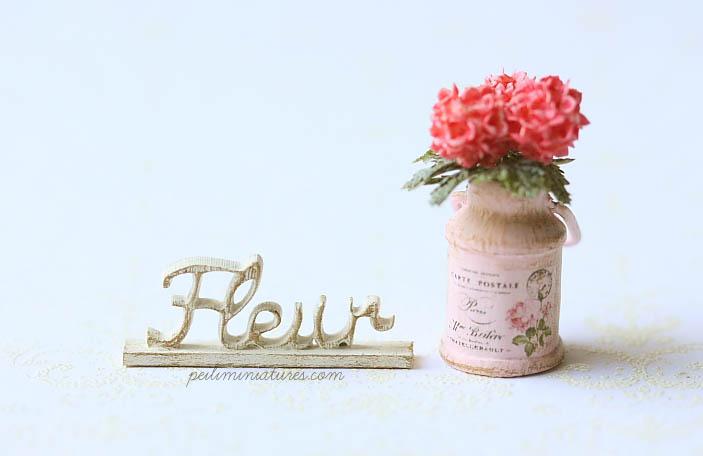 Dollhouse Miniature - Wood Letters - Free Standing Wooden Letters - Fleur