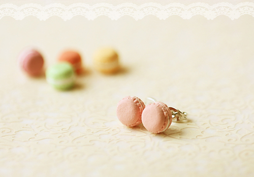 Food Jewelry - French Macaron Earrings-food jewelry, french macaron earrings, pink french macaron earrings