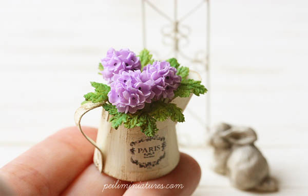 Dollhouse Miniature Flowers- Purple Hydrangeas-dollhouse miniature flowers, dollhouse hydrangeas