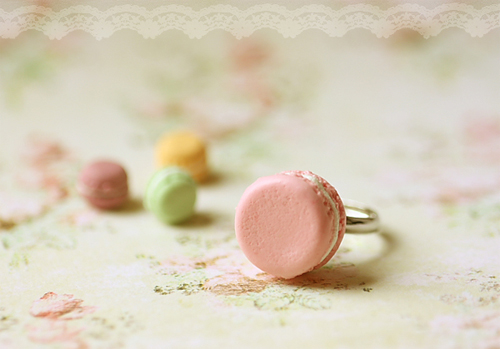 Food Jewelry - French Macaron Ring in Soft Pink-Food Jewelry, French Macaron Ring