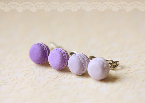 Food Jewelry - French Macarons Earrings (Purple Series)
