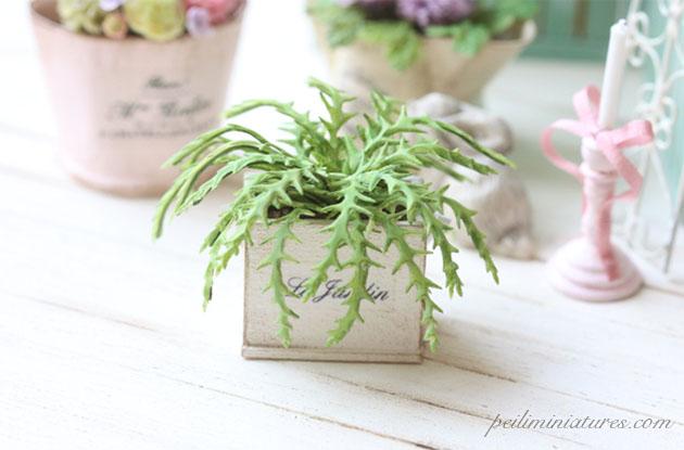 Dollhouse Miniature Flowers - Green Fern in Shabby Pot-Dollhouse Miniature Flowers, dollhouse miniature plants