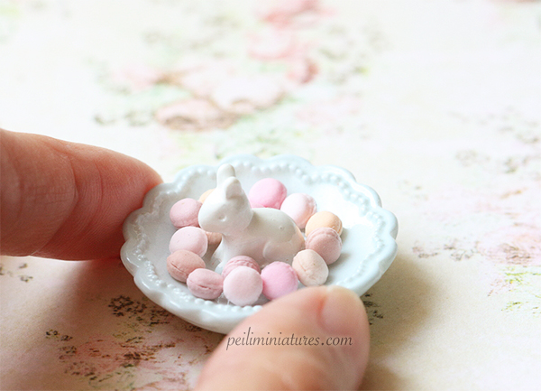 Dollhouse Miniature Bunny Rabbit Plate With Macarons - Kitchen Accessories in 1/12 Scale