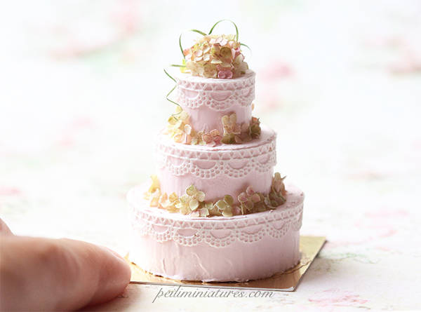 Dollhouse Cake - Three Tier Buttermilk Hydrangeas Wedding Cake