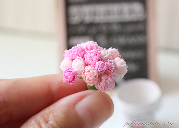Dollhouse Miniature Flowers - Pink Peonies Bouquet in French Bucket