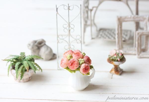 Dollhouse Miniature Flowers - Peonies Bouquet