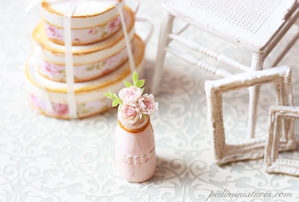 Dollhouse Miniature Milk Vase with Peonies 1/12 Scale