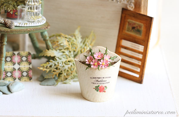 Dollhouse Miniature Plant - Pink Flowers in French Chic Planter