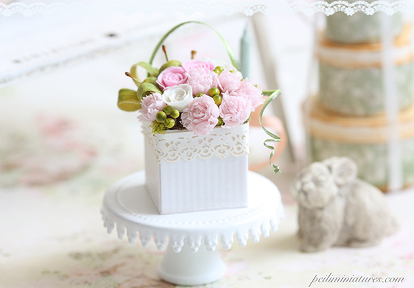 Dollhouse Miniature Pink Peonies Arrangement