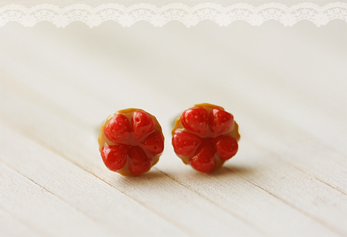 Food Jewelry - Strawberry Tarts Earring Studs