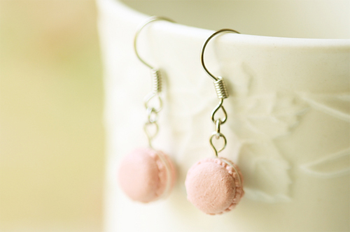 Girly Earring - Soft Pink French Macaron-food jewelry, soft pink french macaron earrings, girly earring