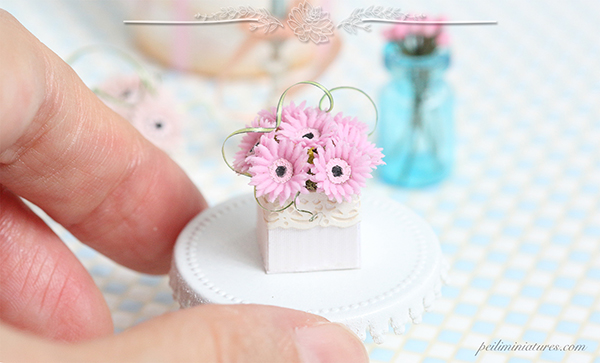 Dollhouse miniature sweet pink gerbera daisies in 1/12 scale