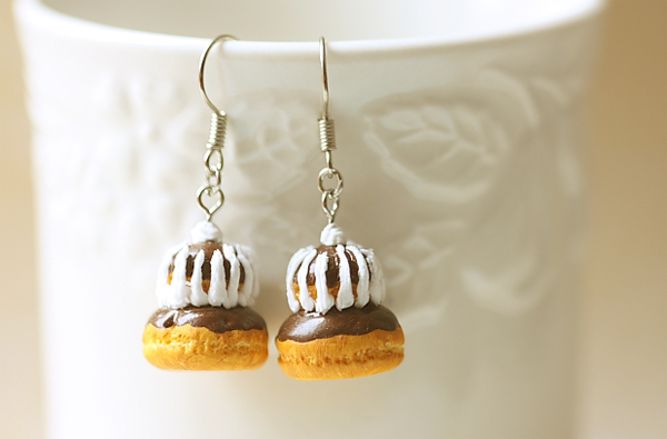 Food Jewelry - Chocolate Religieuse Earrings-food jewelry, religieuse earrings