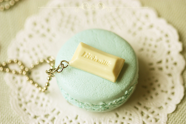 Food Jewelry - Baby Blue Macaron Necklace
