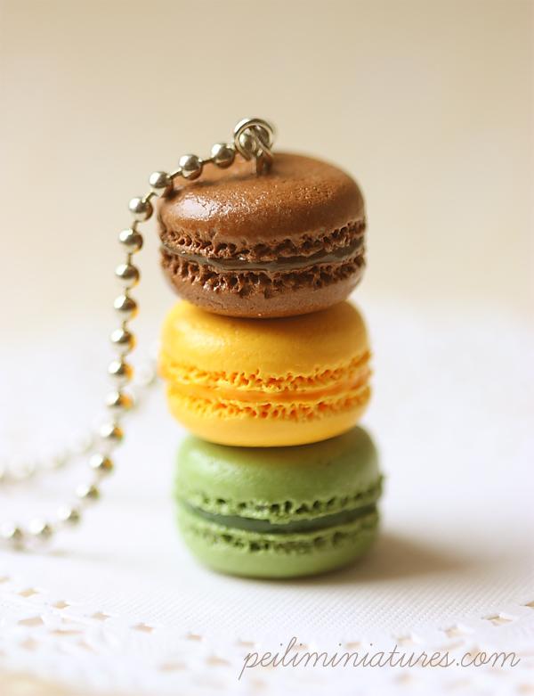 Faux Macaron Jewelry - Trio Macarons Necklace