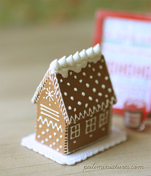 Elegant Gingerbread House in 1/12 Dollhouse Miniature Scale